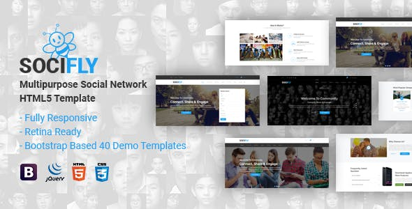social network template templates from themeforest