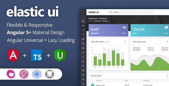 elastic ui - Angular 5 Material Design & Redux Admin Template free