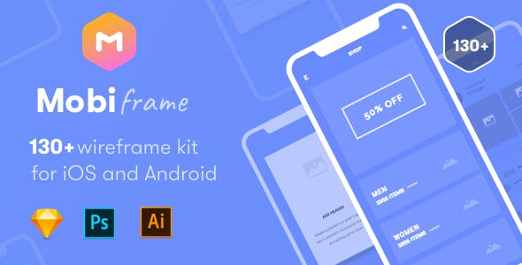Blueprint templates from themeforest mobiframe wireframe kit 130 sketch ai psd template malvernweather Images