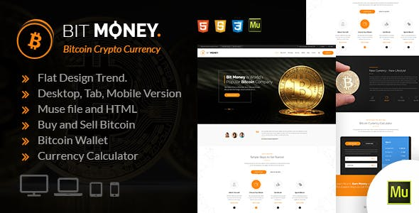 Bit Money Bitcoin Crypto Currency Muse Template
