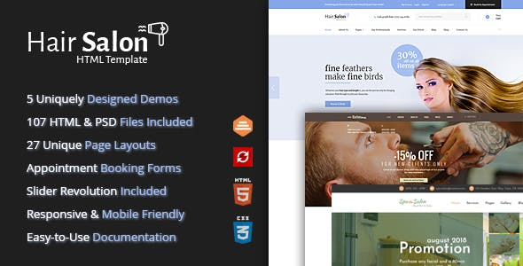 Hair Salon HTML Template For Barber Shops Beauty Salons