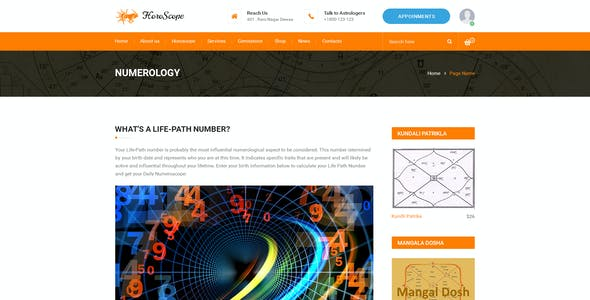 Horoscope - Astrology and Numerology Multipurpose PSD Template by