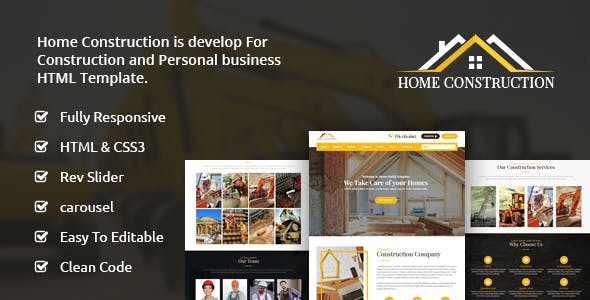 Home Construction Website Templates from ThemeForest
