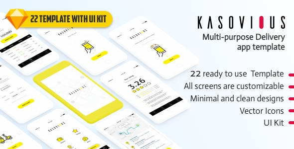 Wireframe sketch app templates from themeforest kasovious ios delivery app ui kit 20 app screens for sketch malvernweather Image collections