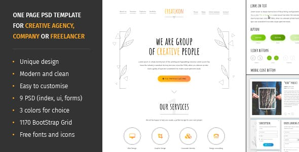 Simple ui website templates from themeforest creatikon one page psd template for digital agency creative company or freelancer maxwellsz