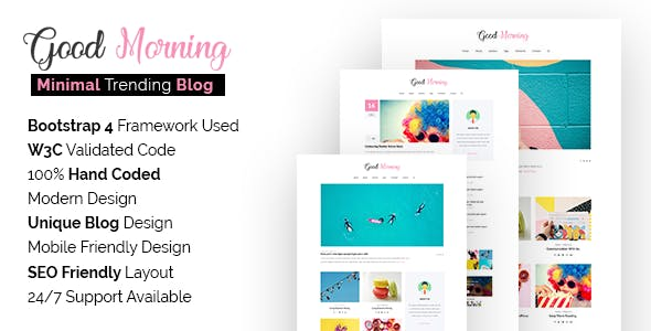 Seo friendly html website templates from themeforest good morning seo friendly minimal blog site template maxwellsz