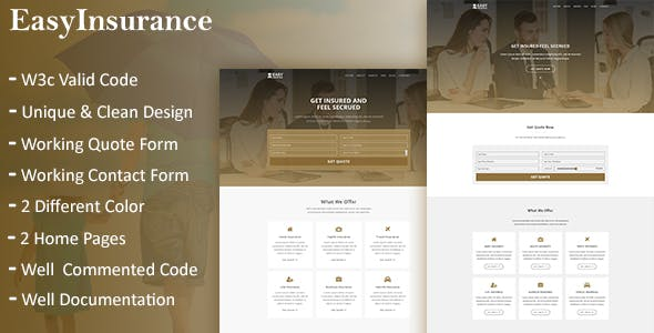 Travel Insurance Templates from ThemeForest