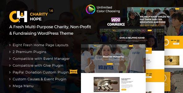 charity hope non profit fundraising wordpress charity theme