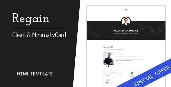 Virtual business card html business card website templates regain clean minimal personal vcard html template tags virtual business card fbccfo Choice Image