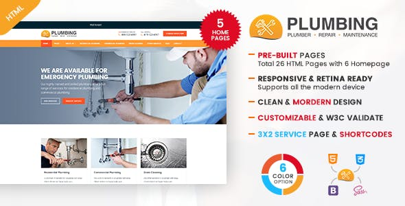 Plumbing Plumber And Repair Services Maintenance Html Template