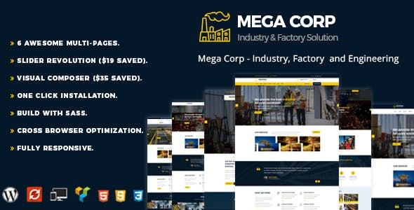 Industrial , Industry & Factory WordPress Theme - Mega Corp