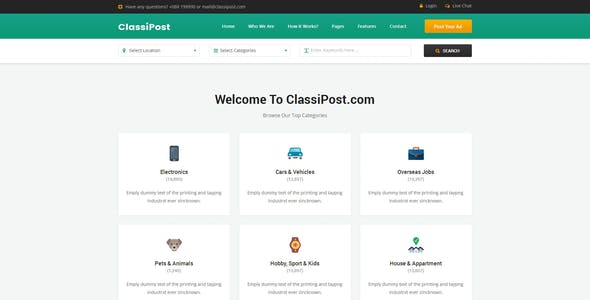Database html website templates from themeforest classipost classified ads html template classipost classified ads html template maxwellsz