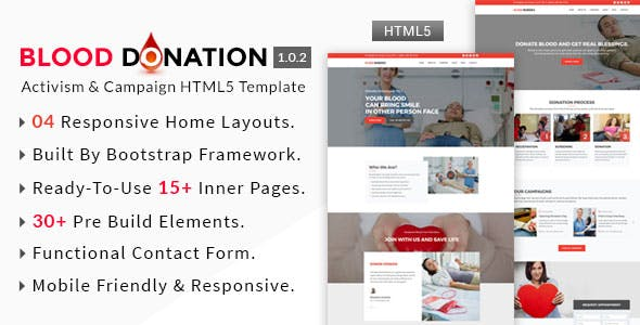 blood donation website template compatible with bootstrap