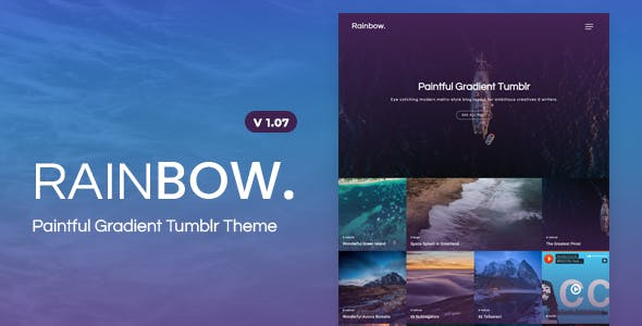 Rainbow Gradient Grid Tumblr Theme By Tmint Themeforest