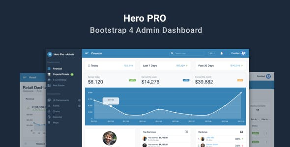 Business admin templates from themeforest hero pro bootstrap 4 admin dashboard theme malvernweather Image collections