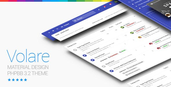 Forum templates from themeforest volare material design phpbb 32 theme responsive maxwellsz
