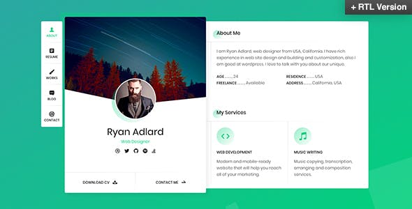 Business card html business card website templates ryan vcard resume cv template wajeb Choice Image
