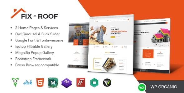roof repair html website templates from themeforest