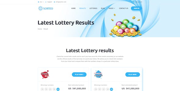 Lottery PSD Files and Photoshop Template from ThemeForest