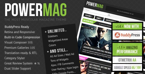PowerMag: The Most Muscular Magazine/Reviews Theme nulled theme download