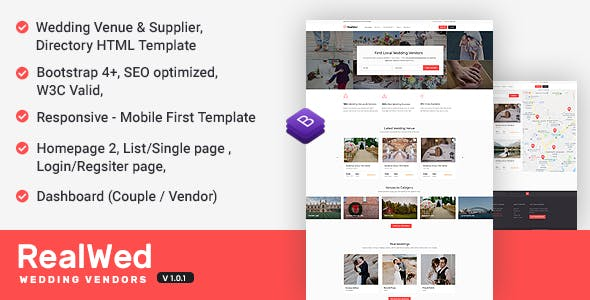 realwed wedding supplier directory listing html template by jitu