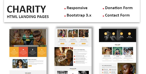 donation non profit landing page templates from themeforest