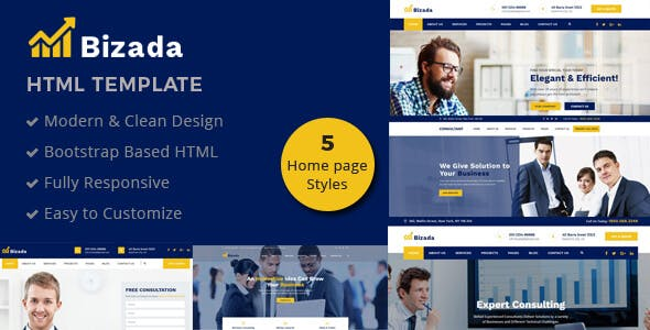 Professional corporate html website templates from themeforest bizada business consulting html template wajeb Images