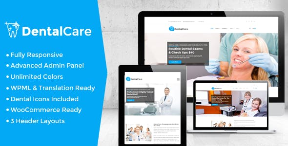 dental care website templates from themeforest