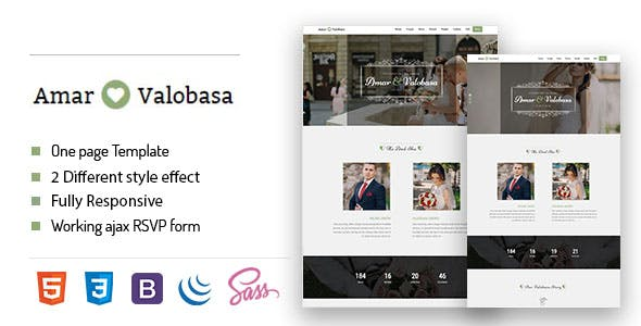 HTML Wedding Website Templates from ThemeForest