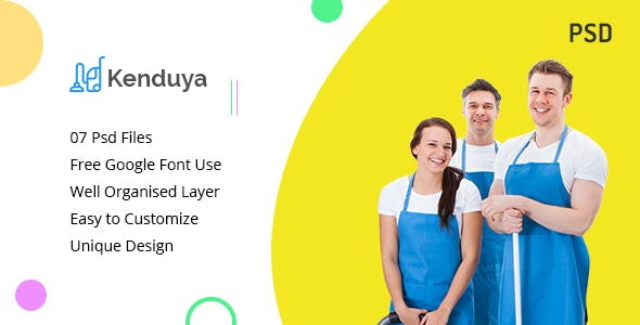 kenduya cleaning company psd template