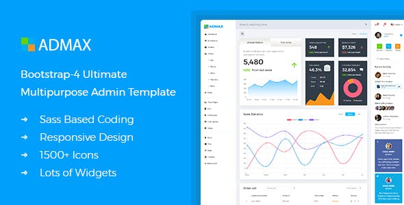 download Admax - Responsive Bootstrap 4 Admin Template nulled