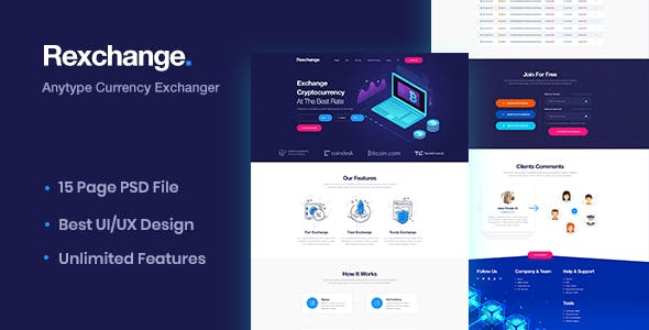 RexChanger - CryptoCurrency Exchanger PSD Template free theme download