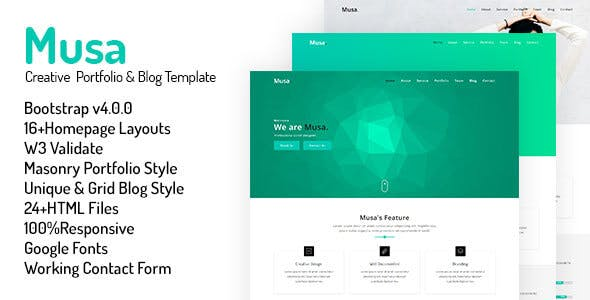 musa creative portfolio blog template by oxygens themeforest