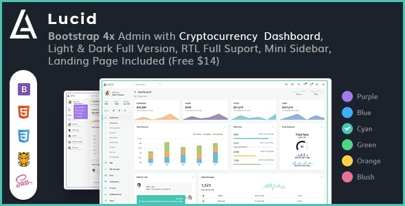 lucid powerful bootstrap 4x admin with cryptocurrency dashboard