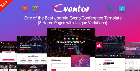 Eventor Conference Event Joomla Template