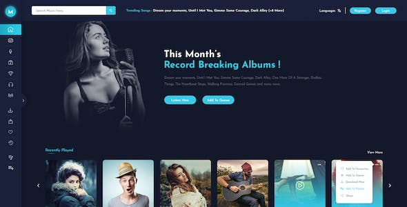 Miraculous Online Music Html Template