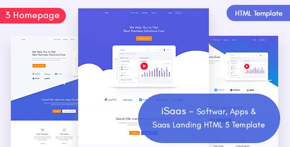 iSaas -Software, App, Saas Landing HTML Template free theme download