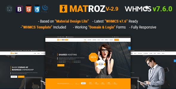 Web design business website templates from themeforest matroz web hosting with whmcs material design technology business template accmission Gallery