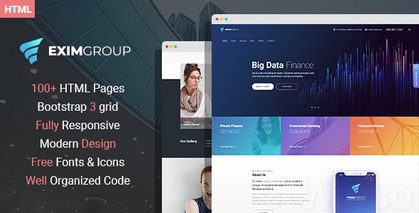 Professional corporate html website templates from themeforest eximgroup finance and business html template flashek Gallery