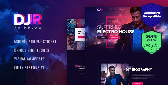 DJ Rainflow | A Music Band & Musician WordPress Theme