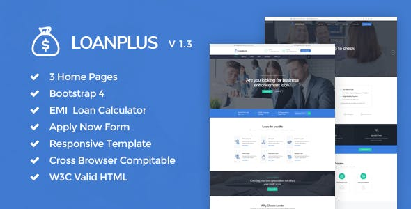 Loan calculator html website templates from themeforest.