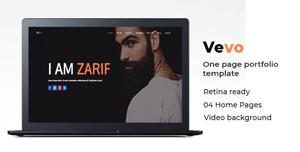 Resume templates from themeforest vevo one page portfolio cv resume template reheart Gallery