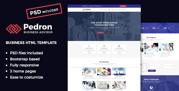 Html business website templates from themeforest pedron business consulting html template wajeb Image collections