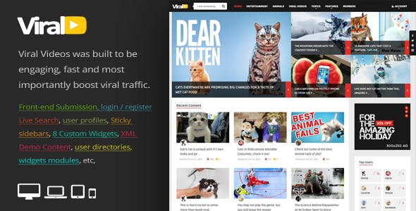 Viral Video Website Templates from ThemeForest