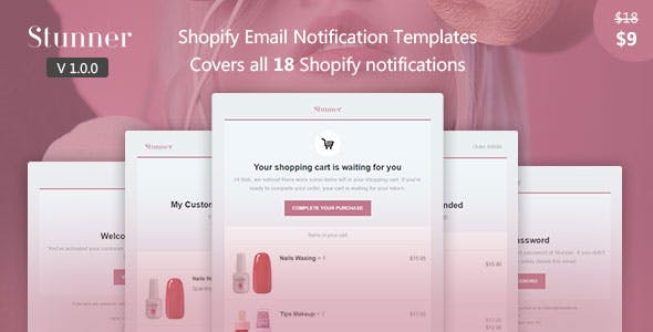 Stunner Shopify Email Notification Templates By Boonite Themeforest