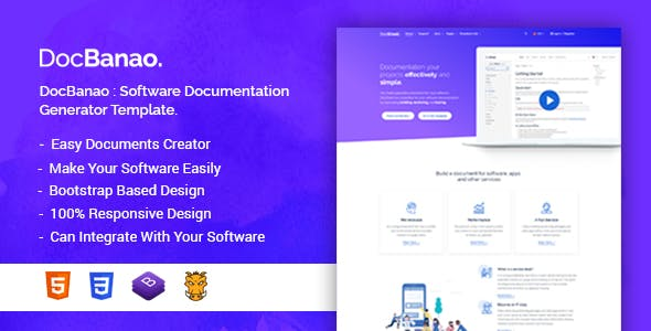 DocBanao - Software Documentation Generator HTML Template by bdtask