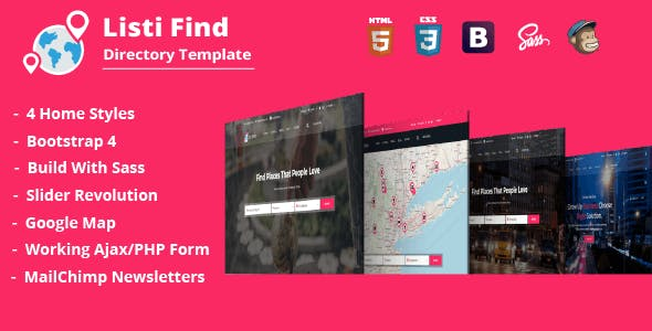 Business directory templates from themeforest listi find directory listing template fbccfo Images