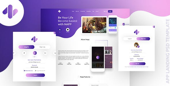 Animation psd files and photoshop templates from themeforest napp app landing psd template maxwellsz