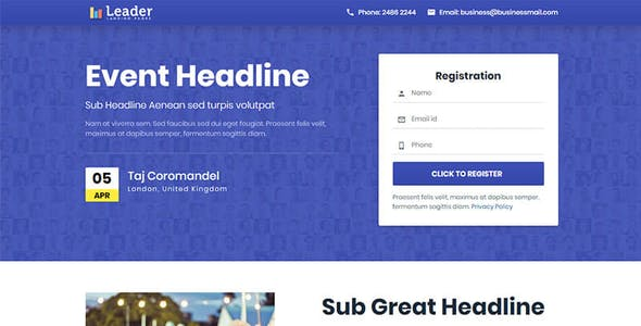 Lead Capture Landing Page Website Templates from ThemeForest