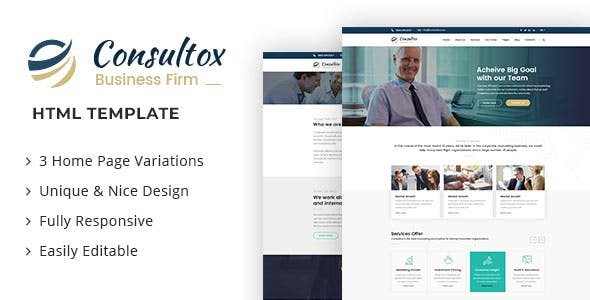 Html business website templates from themeforest consultox consulting business html template accmission Choice Image